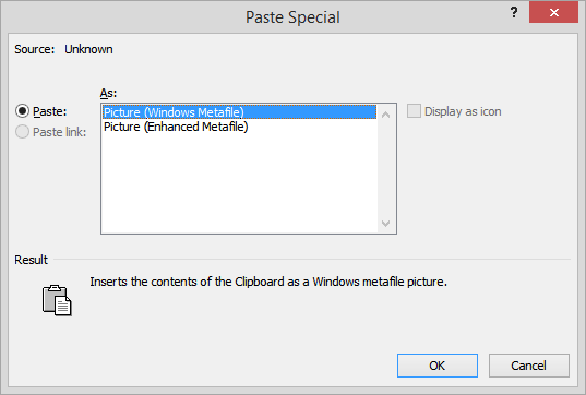 Paste Special Window